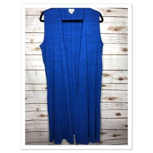 Lularoe Joy long vest ribbed royal blue medium